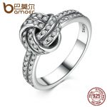 BAMOER Autumn Collection 925 Sterling Silver SPARKLING LOVE KNOT Weave Finger Ring For Women Engagement Fine <b>Jewelry</b> PA7190