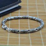 Tibetan Mantra <b>Bracelet</b> Real Pure 925 Sterling <b>Silver</b> Chains For Men Om Mani Padme Hum With Peace Symbol Mens <b>Bracelet</b> 2017