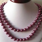 10mm Fuchsia South Sea Shell Pearl Necklace Rope Chain Beads Fashion <b>Jewelry</b> <b>Making</b> Design Gift For Women