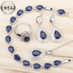 Blue Zircon White Rhinestones Sliver 925 <b>Wedding</b> <b>Jewelry</b> Sets Earrings/Pendant/Necklace/Rings/Bracelet Set For Women Free Box