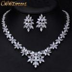 CWWZircons Luxury Cubic Zirconia Wedding <b>Jewelry</b> Sets Big Marquise Cluster Flower Bridal Costume <b>Necklace</b> Earrings Set T299