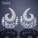 ZAKOL New Luxury Cubic Zircon Big Flower shape Women Stud Earrings for Elegant Bridal <b>Wedding</b> Party Dress <b>Jewelry</b> FSEP2116