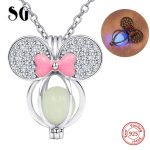 925 sterling silver lovely Mickey Mouse charm glowing pendant chain necklace with CZ&pink enamel diy fashion <b>jewelry</b> <b>making</b> gift