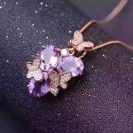natural amethyst pendant S925 Sterling <b>silver</b> Natural gemstone Pendant Necklace romantic Butterfly flowers women party <b>jewelry</b>