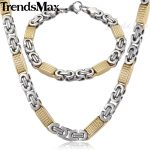 Trendsmax <b>JEWELRY</b> SET 8mm Mens Chain Necklace Silver Gold Tone Flat Byzantine Link Stainless Steel Necklace Bracelet Set KS167