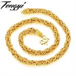 TENGYI HipHop Curb Cuban Gold Color Filled Necklace Mens Dragon 8mm Wide Chain Link Necklace Huge&Heavy <b>Jewelry</b> wholesale KX658