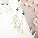LiiJi Unique Natural Green Onyx,Citrines Tear Drop shape 925 sterling <b>silver</b> Chain Drop Leverback Dangle <b>Earrings</b>