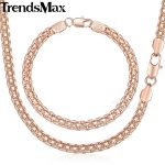 Trendsmax <b>Jewelry</b> Set Necklace Bracelet Men's Women's 585 Rose Gold Filled Weaving Bismark Link 5mm KGS275