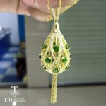 TBJ,Luxury Party pendant <b>necklace</b> in 925 Sterling <b>silver</b> yellow color with natural green chrome diopside gemstone with gift box