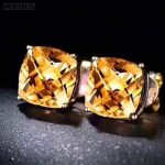ZHHIRY Natural Citrine Gemstone Stud Earrings Genuine 925 <b>Sterling</b> <b>Silver</b> Real Earring For Women Fine <b>Jewelry</b>