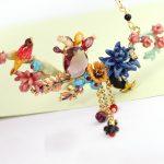 Chinese Anime Cactus Purple Crystal Festive Bird Complex Design <b>Necklace</b> & Pendant Women Enamel Choker Fashion Charm <b>jewelry</b>