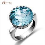 Russian Brand <b>Jewelry</b> 5.6ct Sky Blue Wedding Crown Crystal Ring Real 925 Sterling <b>Silver</b> Knuckle Women Vintage Engagement Rings
