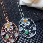 natural Multicolor Ice jade pendant S925 <b>silver</b> Natural gemstone trendy Flower branche Pendant Necklace women party fine <b>jewelry</b>