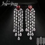 Luxury Micro Paved Cubic Zirconia Geometric Water Drop Pendant Long CZ Crystal Drop Earrings Multicolor <b>Fashion</b> <b>Jewelry</b> AE174