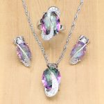 Natural Mystic Rainbow Crystal 925 Silver <b>Jewelry</b> Sets For Women Party <b>Accessories</b> Earrings Pin/Pendant/Necklace/Rings