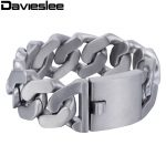 Davieslee Heavy Thick Mens <b>Bracelet</b> Chain <b>Silver</b> Tone Matte Finish Curb 316L Stainless Steel Fashion Jewelry 27mm LHB409