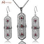 Fashion Wedding Bridal Jewelry Sets Red Stone Crystal Jewelry Set 925 Sterling <b>Silver</b> <b>Earrings</b> Pendant Set Vintage Accessories