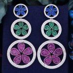 GODK 69mm Luxury Flower Floral Multicolor Full Cubic Zirconia Naija <b>Wedding</b> Women Party Earring Fashion <b>Jewelry</b>