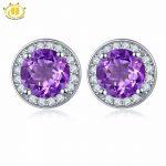 Hutang Classic Style Amethyst Stud <b>Earrings</b> Solid S925 Sterling <b>Silver</b> Purple Natural Gemstone Jewelry Women's Ladies Accessorie