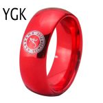 YGK <b>JEWELRY</b> Alabama Design Ring 8MM Width Red Color Domed Tungsten Carbide Wedding Ring