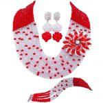 Fashion Red and Clear AB crystal necklaces set costume <b>jewelry</b> nigerian <b>wedding</b> african beads <b>jewelry</b> set JL001