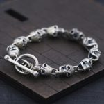 S925 Sterling <b>Silver</b> <b>Bracelet</b> & Bangle Skull and Slub OT Buckle Thai <b>Silver</b> <b>Bracelet</b> 10mm Men's Fashion Punk Style