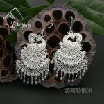 Hot sale new StyleHot >Miao Alai <b>silver</b> <b>jewelry</b> S999 <b>sterling</b> <b>silver</b> original ethnic style peacock earring ear drop Miao manual