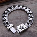 S925 Sterling <b>Silver</b> <b>Jewelry</b> Trendy Boutique Star Men's Thai Vintage High Polish Bracelet & Bangle Fine Craft Star Street