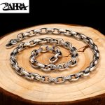 ZABRA Religion Solid 925 <b>Sterling</b> <b>Silver</b> Necklace Men Buddhism Mantra 60cm Length Chain Punk Retro Style <b>Jewelry</b> For Male