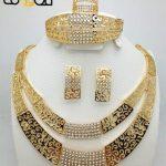 2018 Fashion Women Dubai Gold-color <b>Jewelry</b> Sets Big Nigerian Wedding African <b>Jewelry</b> Sets african beads <b>jewelry</b> set