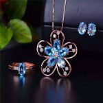 Exclusive new Swiss Blue Topaz Ring + natural <b>Earrings</b> Necklace Set 925 + <b>silver</b> inlay Deluxe Edition