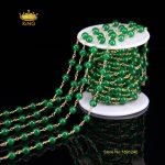 5Meter 6mm Smooth Round Jade Beading Chains <b>Supplies</b>,Green Malaysian Jade in Bronze Plated Wire Wrapped Connector Necklace HX031