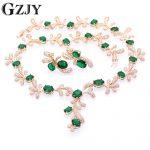 GZJY Beautiful Champagne Gold Color Crystal AAA Zircon <b>Necklace</b> Earring <b>Jewelry</b> Set For Women Fashion Wedding <b>Jewelry</b> 5color