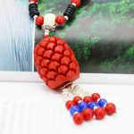 <b>Accessories</b> Series Red Coral Necklace Choker Sweater Chain <b>Jewelry</b> crafts 18inch making design women Girls Gifts Lucky Pendant