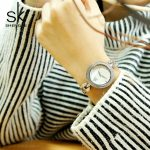 2018 Shengk Top Brand New Fashion Female Wristwatch Ladies <b>Silver</b> <b>Bracelet</b> Quartz Hour Ladies Clock Beautiful Gifts Reloj Mujer