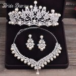 Bride Diaries Costume jewelery sets New Design Pearl Bride 3pcs Set Necklace Earrings Tiara Bridal Women Wedding <b>Jewelry</b> Set