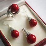 Prett Lovely Women's Wedding silver-<b>jewelry</b> 1 Set AAA 12mm Red Shell Pearl Pendant Necklace Earrings Ring Set C05