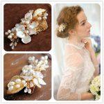Jonnafe <b>Handmade</b> Shell Floral Hair Clip Wedding Accessories Gold Headpiece Fresh Water Pearl Bridal Hair <b>Jewelry</b> Women Headwear