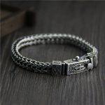 S925 Qi <b>silver</b> fashion woven bone Dragon Bracelet Mens retro Thai <b>silver</b> <b>jewelry</b>