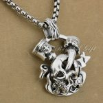 LINSION Huge Heavy 925 Sterling <b>Silver</b> Unique Skull Cross Pendant Mens Biker Punk Style 9P008 Stainless Steel <b>Necklace</b> 24inch