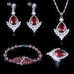 Women High Quality Jewelry Set 925 Stamp <b>Silver</b> Color Wedding Engagement Sets Drop Earring+Pendant+Pendant+<b>Bracelets</b>+Rings Sets