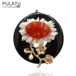 PULATU Original <b>Handmade</b> Garland Pearl Brooches Fashion Women <b>Jewelry</b> Natural Stone Flower Pendant Bride Wedding Brooch Pins