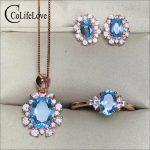 100% Natural light blue topaz jewelry set for party rose gold color 925 <b>silver</b> topaz ring <b>earrings</b> pendant set gift for girl