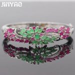 JINYAO Luxurious Party <b>Jewelry</b> White Gold Color Green&Red Cubic Zirconia Pave Bangle Bracelets For Women <b>Wedding</b> Party <b>Jewelry</b>