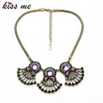 KISS ME Fashion <b>Jewelry</b> Luxury <b>Antique</b> Gold Color Purple Choker Statement Necklace Women Factory Wholesale