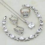 Square 925 Silver <b>Jewelry</b> White Cubic Zirconia Bridal <b>Jewelry</b> Sets For Women Engagement Bracelets/Necklace/Pendant/Earrings/Ring