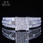 HELON <b>Sterling</b> <b>Silver</b> 925 Engagement Anniversary Pave Natural Diamonds Square Women's Fine Ring Fine <b>Jewelry</b> Wedding Band 0.4ct