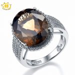 HUTANG NEW 8.37ct Natural Oval Smoky Quartz Solid 925 Sterling <b>Silver</b> Cocktail Ring Gemstone Fine <b>Jewelry</b> Women's Xmas Gift