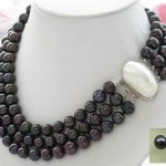 3row 11MM black round FRESHWATER PEARL necklace mabe <b>earring</b>