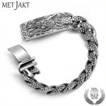 MetJakt Men's Punk Dragonscale Bracelets Solid 925 <b>Sterling</b> <b>Silver</b> Dragon Bracelet for Men's Vintage Thai <b>Silver</b> <b>Jewelry</b> 21cm